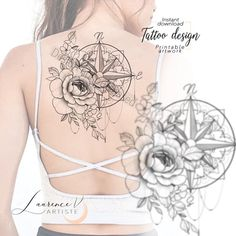 Classy Tattoos For Women, Tattoos For Women Half Sleeve, Full Back Tattoos, Shoulder Tattoos For Women, Back Tattoo Women, Feminine Compass Tattoo, Feminine Tattoo Sleeves, Feminine Tattoos, Thigh Sleeve Tattoo