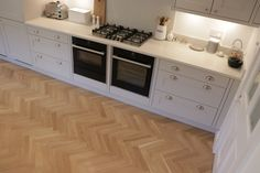 European Oak Herringbone for a Kitchen & Boot Room in Cambridge. The Engineered Oak Herringbone blocks were lacquered with Pallmann Pall-X Pure Lacquer Herringbone, Cambridge, Kitchen Cabinets, Pure Products, Boots, Home Decor, Crotch Boots, Decoration Home, Room Decor