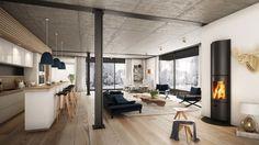Plafond en béton apparent