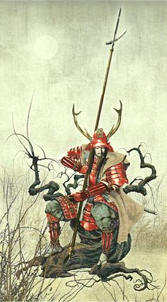 Sanada Yukimura (japanese military commander). illustration by Kimiya Masago.