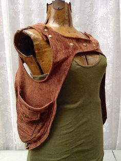 Brown corduroy holster hoodie Burning Man shoulder holster