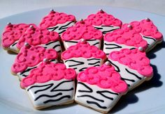 18 Pretty hot pink Zebra Cupcake Decorated Sugar by AlisSweetTooth, $54.00