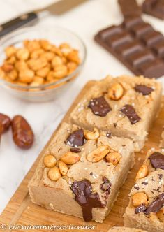 Vegan White Bean Blondies with Peanut Butter and Dark Chocolate! Not only lovers of healthy desserts will fall in love with this sugar-free, dairy-free and gluten-free treat! #sugarfree #dairyfree #blondies #chocolate #veganrecipes #cleaneating #glutenfree #peanutbutter #cinnamonandcoriander