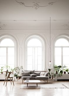 arched windows, white walls, transom windows, sofa, wood floor, coffee table
