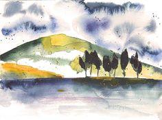 "Aquarell ""Irish Mood"" - Irische Landschaft  http://www.fotografie-und-malerei.de/malerei/bilder-in-aquarelltechniken/"