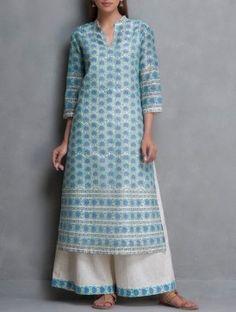 Blue-Beige Hand Block Printed & Sequin Embellished Chanderi Kurta with Lining Set of 2 by Kora Kurta Designs Women, Salwar Designs, Kurti Neck Designs, Blouse Designs, Indian Attire, Indian Wear, Indian Outfits, Neckline Designs, Kurti Patterns