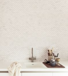 Herrringbone House Kitchen by Atelier Chan Chan, London,  Pearl colored brick, Mike Tsang Photograph   Remodelista