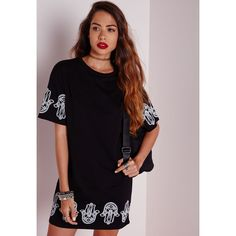 Missguided Hamsa Hand T-Shirt Dress Black ($40) ❤ liked on Polyvore featuring dresses, black, missguided dress, black tee shirt dress, tshirt dress, fancy black dresses and dressy dresses