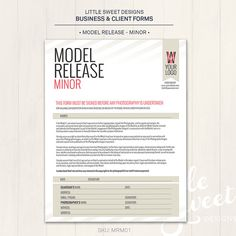 Photography Model Release Template Photographer Photoshop