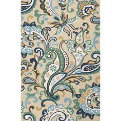 Jaipur Rugs Barcelona Blue/Taupe Paisley Indoor/Outdoor Area Rug & Reviews | Wayfair