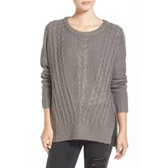Junior Cotton Emporium Cable Front Sweater ($54) ❤ liked on Polyvore featuring tops, sweaters, charcoal, long sleeve sweaters, crewneck sweater, brown sweater, chunky cable knit sweater and long sleeve pullover sweater