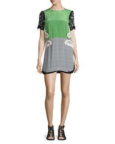 Contrast-Sleeve Polka-Dot Shift Dress, Green by Stella McCartney at Neiman Marcus.