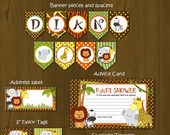 Safari Zoo Jungle Wild Animals Printable Birthday Package - Safari Birthday Party DIY Set - invitation, cupcake toppers, placemat. $27.00, via Etsy.