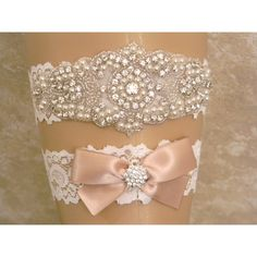 Champagne Wedding Garter Set, Bridal Garter, Pearl and Rhinestone... ($28) ❤ liked on Polyvore featuring intimates