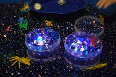 Sensory Table- Water Beads in the Dark - Familylicious - under water lights pack from Michaels
