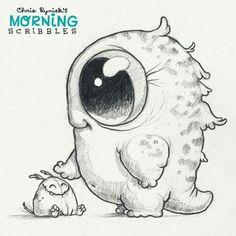 Chris Ryniak - morning scribbles - cute and funny art Cute Monsters Drawings, Cute Cartoon Drawings, Cartoon Monsters, Cute Animal Drawings, Doodle Monster, Monster Drawing, Cute Illustration, Scribble, Drawing Sketches