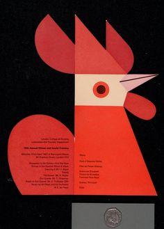 Cockerel menu, Tom Eckersley. 1967