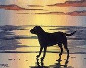 LABRADOR RETRIEVER SUNSET Dog Watercolor Signed Fine Art Print by Artist D J Rogers