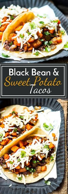 Black Bean  Sweet Potato Tacos | A gluten free and vegetarian taco full of refried black beans, sweet potatoes, cilantro and cheese! They make a great breakfast, lunch or dinner taco recipe.
