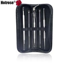 Hotrose 5 pcs Inoxydable Point Noir Acné Extractor Outil Peau Remover Kit Blemish Pimple Extractor Soins de La Peau Nettoyant de Toilette Kits