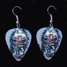 Guitar Pick Earrings Iron Maiden  Guitar Pick Pendants by 322Music