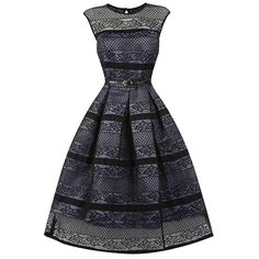 Harlow Mauve Black Swing Dress | Vintage Style Dresses - Lindy Bop