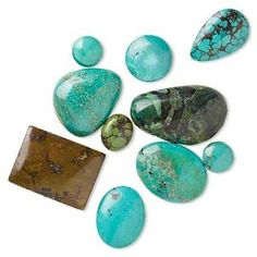 Cabochon Mix, Magnesite Turquoise (dyed / Stabilized), Blue / Green / Blue-green, 9mm-25x16mm Freeform, Mohs Hardness 3-1/2 4. Sold Per Pkg 10