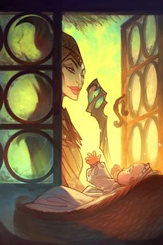 Maleficent by Nicholas Kole. This was one of my FAVORITE moments in the Maleficent movie! Film Disney, Arte Disney, Disney Fan Art, Disney Love, Disney Magic, Sleeping Beauty Art, Sleeping Beauty Maleficent, Disney Maleficent, Disney Villains
