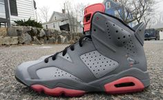 """Check out this pair of Air Jordan 6 Customs, which are inspired by the Nike SB Dunk Low """"Pigeon""""."""