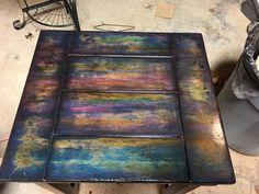Image may contain: table Reclaimed Furniture, Refurbished Furniture, Paint Furniture, Home Decor Furniture, Furniture Projects, Furniture Makeover, Home Projects, Cool Furniture, Unicorn Spit Stain