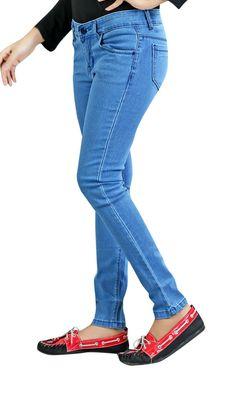 Ladies/Women/ Girls Stretchable Light Blue Slimfit Ankle Length BASIC Jeans