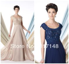 New Style Empire Waistline Embroidered Top Chiffon Mother of the Bride Dresses 2013 with Cap Sleeves FN304 US $139.58