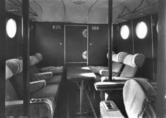 Another view of the smoking room (at the forward end) of the Short S.23 Empire (or: 'C-') Class flying boat of Imperial Airways. The cockpit was on the flight deck immediately above this main-deck compartment.
