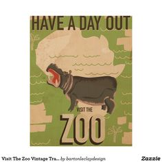Visit The Zoo Vintage Travel Poster. Wood Wall Art
