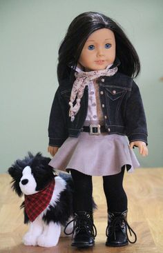 American Girl Doll Clothes Black Denim Jacket by NoodleClothing. $48.12 USD.