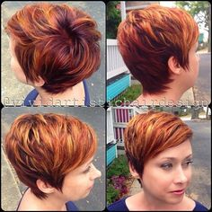 Cute haircut and color Edgy Haircuts, Funky Hairstyles, Pretty Hairstyles, Short Red Hair, Short Hair Cuts, Short Hair Styles, Sassy Hair, Hair Affair, Great Hair