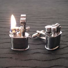 Vintage Lighter Cufflinks (with Fire!): these are awesome