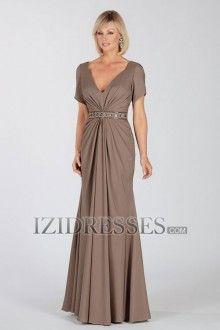 Sheath/Column V-neck Straps Taffeta Mother of the Bride Dress