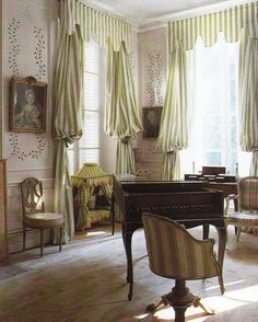 Ted and Lillian Williams restored French Folly - Chateau de Morsan built circa 1736 Normandy, France. Image from Book Judith Miller's COLOR Guest room drapery treatment French Chic, French Decor, Interior Design Courses, Old Cottage, Cottage Interiors, French Interiors, Antique Interior, Green Rooms, Classic Interior