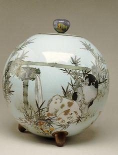 Spherical Jar with Puppies by Namikawa Sousuke, Meiji period (1890-1895), Japan
