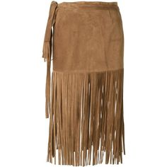 P.A.R.O.S.H. Mindy Fringed Skirt ($321) ❤ liked on Polyvore featuring skirts, brown skirt, fringe skirt, p.a.r.o.s.h., leather fringe skirt and leather skirt