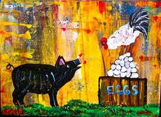 PiG~ROOSTER~chicken~farm~painting~Maine Abstract FOLK ART outsider~COASTWALKER