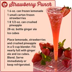 "This delicious, refreshing drink recipe was submitted by Martha P. of Markham, TX! She's the winner of the ""Cool Beverages"" Contest for May Strawberry Punch Recipes, Pink Punch Recipes, Dessert Drinks, Fun Drinks, Beverages, Party Drinks, Desserts, Brunch Recipes, New Recipes"
