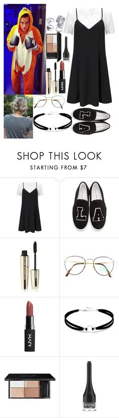 """""""Backstage With Harry"""" by kennedey-lynn-freeman ❤ liked on Polyvore featuring Miss Selfridge, Joshua's, Jouer, L'Oréal Paris, Benetton, LULUS and Barry M"""