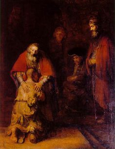 """The Return of the Prodigal Son"" ca. 1661-69 by Rembrandt (Leiden 1606 - Ámsterdam 1669). Oil on canvas (262x205cm). Hermitage Museum, Saint Petersburg. The work depicts the moment of the prodigal son's return to his father in the Biblical parable. His evocation of spirituality and the parable's message of forgiveness has been considered the height of his art. The aged artist's power of realism is not diminished, but increased by psychological insight and spiritual awareness."