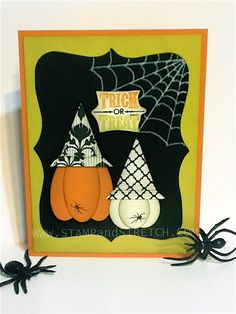 Pumpkins with Witch Hats by Pammyjo - Cards and Paper Crafts at… Halloween Tags, Halloween Projects, Fall Halloween, Halloween Ideas, Diy Projects, Hand Made Greeting Cards, Greeting Cards Handmade, Scrapbook Cards, Scrapbooking