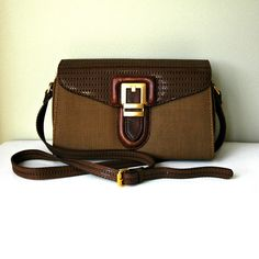 Chocolate vinyl and fabric purse with leather by ButtonsandFrills