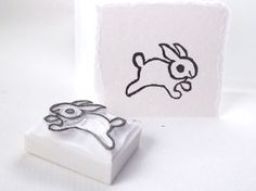 baby bunny - hand carved stamp