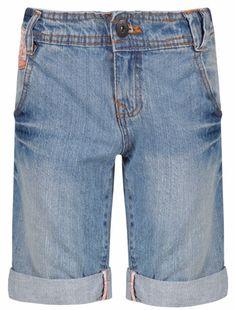 Girls Blue Wash Bermuda Jeans Shorts