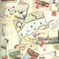 Papel decorativo viajes 100x70. Ref. 0449